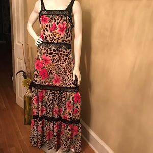 Boston Proper Floral Leopard Print Maxi Dress